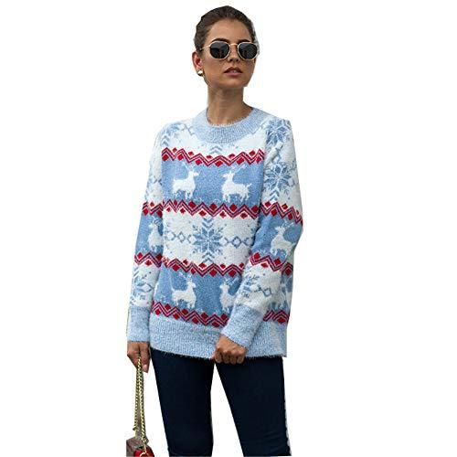 gumeng New Christmas Sweater Damen Herbst und Winter Europa und Amerika Snowflake Deer Pullover Strickwaren Blau M
