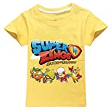 Superzings Camiseta Manga de sección Ligera y Transpirable Cortos del Ocio Camiseta Exquisita impresión Cuello Redondo Top niños y niñas (Color : Yellow01, Size : 100)