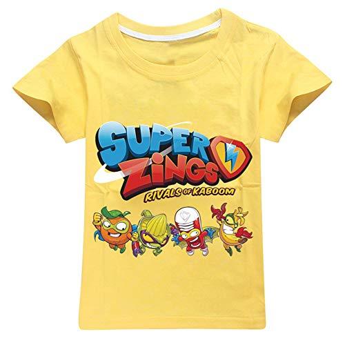 Ukgjhejjh Superzings Maglietta Sezione Sottile Traspirante Tempo Libero Manica Corta T-Shirt Exquisite Stampa Girocollo Top Ragazzo e Ragazza (Color : Yellow01, Size : 100)