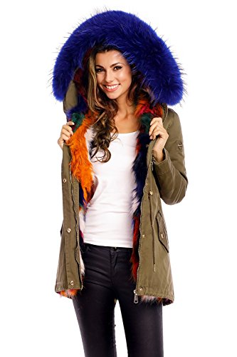 Jayloucy gefütterte Damen-Jacke mit Kapuze und echtem Fell JC1819 Khaki-Blau L