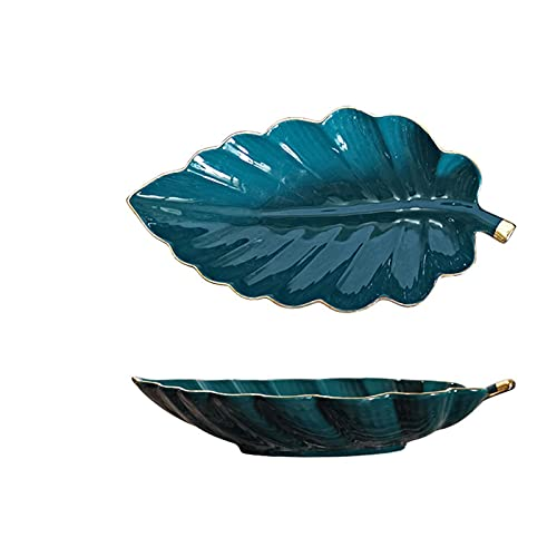 Leaf Shape Ceramic Fruit Plate Trinket Dish Nordic Small Candy Dessert Snack Sushi Plates Home Creative Storage Trays Decorative (Color : Green)