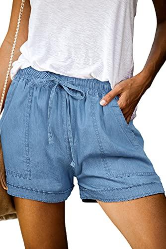 ONLYSHE Women Juniors Summer Casual Fashion Frayed Raw Hem Tencel Ripped Drawstring Elastic Waist Denim Jean Shorts with Pockets Blue-S