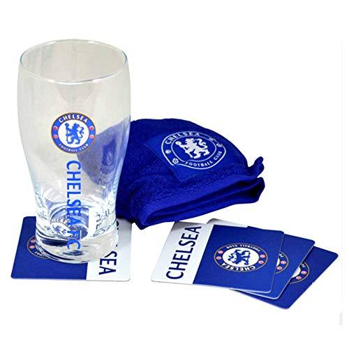 Offizielles Chelsea FC Pint-Glas Mini-Bar-Set (Pintglas, Untersetzer und Handtuch)