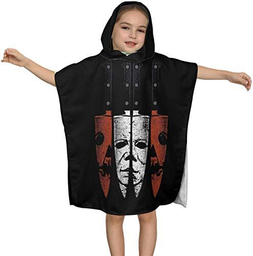 Halloween Michael Myers Art Premium Kapuzen-Strandtuch für Kinder Jungen Mädchen 2 bis 7 Jahre alt, schnell trocknende Bad- / Billardtücher Super Absorbent Hooded Poncho , 23,7 x 23,7 Zoll