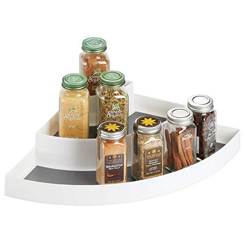mDesign Estantería esquinera – Especieros de Cocina pequeños con 3 Niveles en plástico – Ideal como Organizador de Especias y para el Armario de la despensa y Nevera – Blanco y Gris