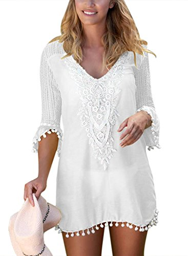 BLENCOT Women's Crochet Chiffon Tassel Swimsuit Bikini Pom Pom Trim Swimwear Beach Cover Up-White Large