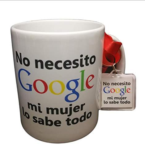 MISORPRESA Taza Y Llavero con Frase No Necesito Google, mi Mujer lo Sabe Todo Regalo Gracioso,ROMANTICO