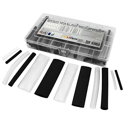 142-tlg. 3:1 mit Kleber Transparent-Schwarz Mix Schrumpfschlauch Sortiment. Set mit Gesamtlänge von 8,3m in einer praktischen Box. Dank Heißkleberschicht auf der Innenseite wasserdicht. Von ISOLATECH