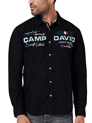 Camp David Herren Langarmhemd mit Artworks, Regular Fit, Black, L