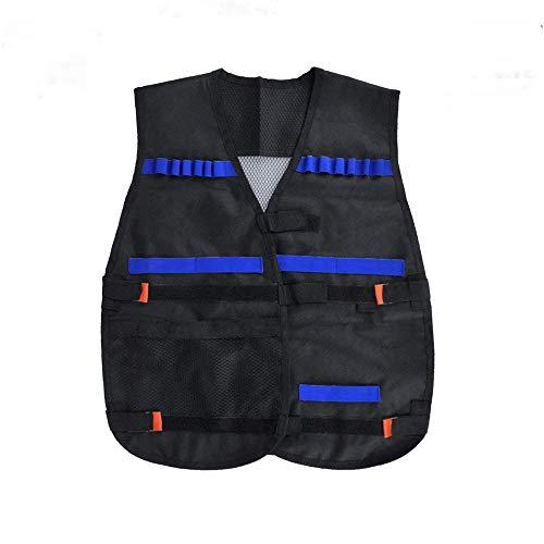 Vientiane Gilet Tactique Enfant,Veste Tactique Protection en Nylon Velcro réglable,pour Nerf Guns N Strike Elite Séries ou Paintball,Respirant et léger (Noir)