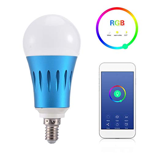 WiFi Smart LED Bulb E14 12W Intelligent Energy Saving Light Bulbs 2.4G RGBW Voice Command Bulb for Google Home Voice Phone Control - 2 Packs (E14, Blue)