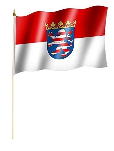 Sportfanshop24 Stockflagge/Stockfahne Hessen Flagge/Fahne ca. 30 x 45 cm mit ca. 60cm Stab/Stock