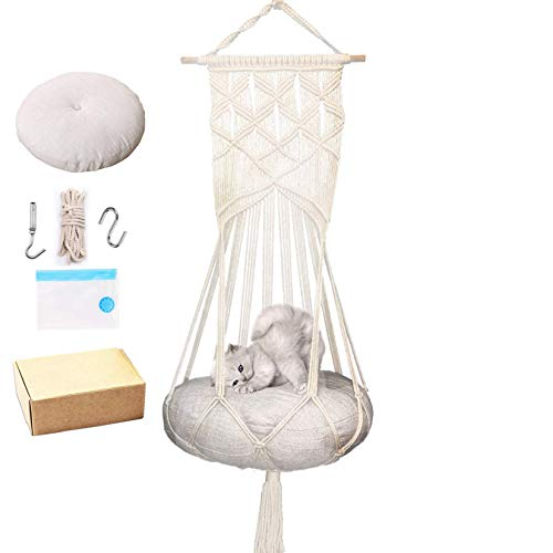 Macrame Cat Hammock with Catnip Cushion and Hanging Kit Macrame Hanging Swing for Indoor Cats (1.Macrame Hammock with Cat Bed)
