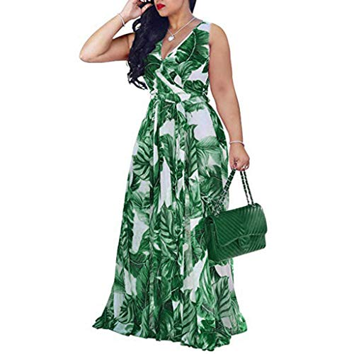 Youmymine Women's Plus Size Sleeveless Dresses Summer Chiffon V-Neck Printed Floral Maxi Dress with Belt (XXXL, Green)