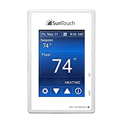 Image of SunTouch Command Touchscreen Programmable Thermostat [universal] Model 500850 (low-profile, user-friendly floor heat control, 120/240V, bright white + paintable beauty ring) includes floor sensor: Bestviewsreviews