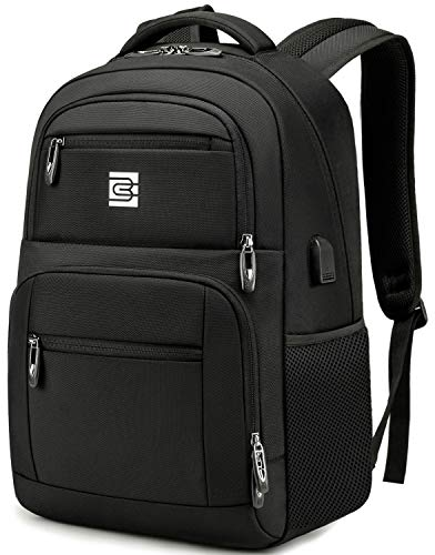 Laptop Backpack, Professional Business Travel Durable Anti Theft Laptops Backpack with USB Charging Port, Water Resistant College Backpack for Women & Men Fits 15.6 Inch Laptop and Notebook, Black