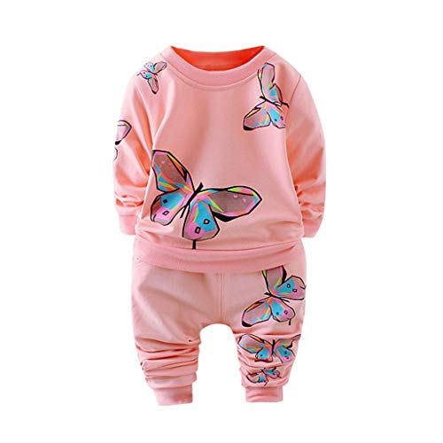 MRULIC Kleinkind Baby Jungen und Mädchen Insgesamt Langarm T-Shirt und Hose Trainingsanzug Bekleidungsset Outfits Schlafanzug mit Schmetterlingsdruck(Rosa,70-80cm/S)