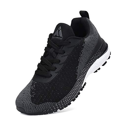 Mishansha Men's Sports Tennis Shoes Breathable Lightweight Fashion Sneakers Men 6 & Women 8 Black