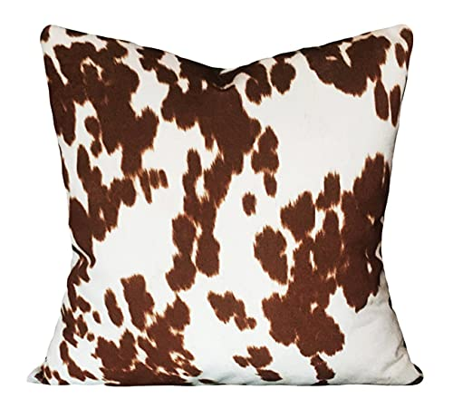 Promini Faux Cowhide Pillow Cover Throw Pillow Pillow Covers Case Cushion Pillowcase with Hidden Zipper Closure for Sofa Bench Bed Home Decor 18 x 18 Inches