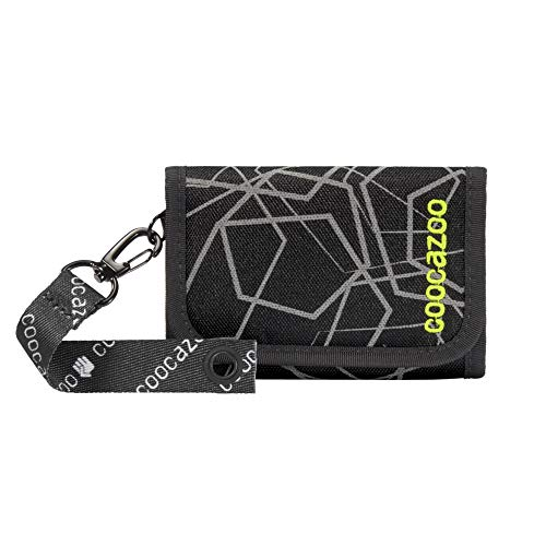 coocazoo AnyPenny 'Laserreflect Solar Green' Wallet Green/Black Wallet with Window Inside & Outside Coin, Multiple Card Slots, Velcro Fastening for Boys