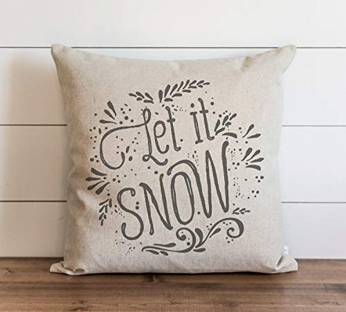 Let It Snow Pillow Cover Christmas Holiday Throw Pillow Gift Accent Case Cushion Pillowcase with Hidden Zipper Closure for Sofa Bench Bed Home Decor 16 x 16 Inches