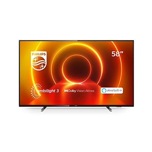 TV LED Philips 58PUS7805/12 58 pollici con Ambilight e Alexa integrata (4K UHD LED TV, HDR10+, Dolby Vision, Dolby Atmos, Smart TV) – color nero (modello 2020/2021)