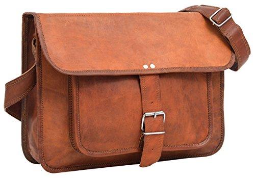 Gusti Umhängetasche Leder - Ollie Collegetasche Unitasche Arbeitstasche Echt Leder Vintage Braun