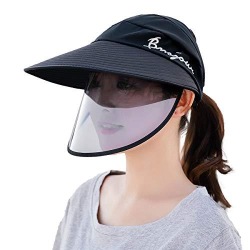 FEOYA - Schutzhut Staubdichte Hut Mit Gesichtsschutz Visier Hut Antibeschlaghut Augenschutz UV-Schutz Sonnenhut Weibliche Sonnenhut Antisplash