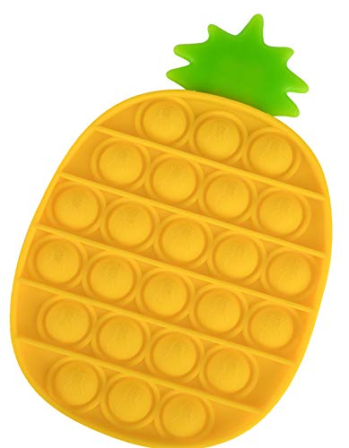 OKCS Fidget Toy Pop It - Push It - geprüft & kinderfreundlich - für Kinder & Erwachsene - zur Ablenkung bei Stress & Nervosität Push Bubble - Ananas Gelb