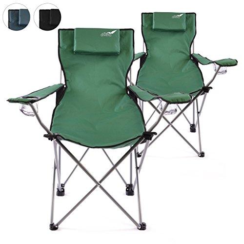 Divero 2er Set Camping Stuhl Faltstuhl Angelstuhl dunkelgrün Kopfkissen Getränkehalter robust bis 130 kg 600D Oxford Stahlrohr (Farbe wählbar)