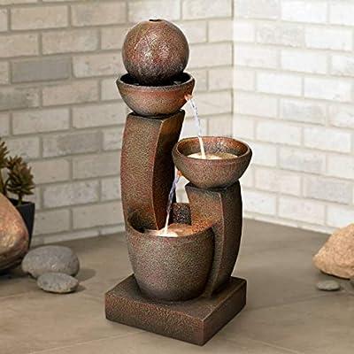 "John Timberland Modern Curved Columns Zen Outdoor Floor Water Fountain with Light LED 31"" High Cascading for Yard Garden Patio Deck Home"