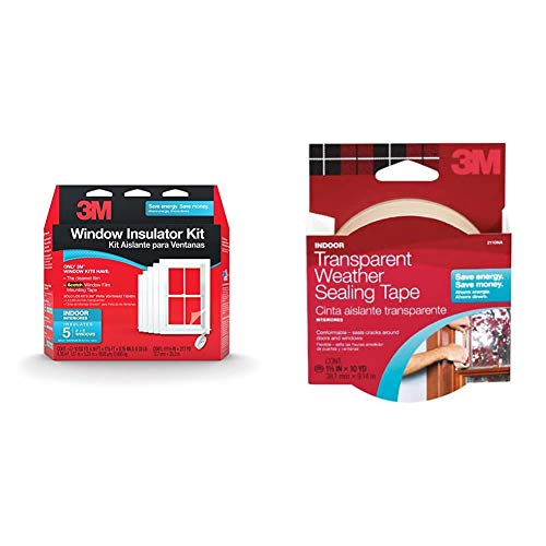 3M Indoor Window Insulator Kit Insulates 5-3'x8' Windows & 2110NA Interior Transparent Weather Sealing, 1.5-Inch by 10-Yard 1-1/2x30 WTHRPF Tape, 1 Pack