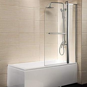 Mecor Clear Glass Bathtub Shower Door 55 X39  Glass Enclosure Hinged Bathtub Door Frameless 1/4  Clear Glass Over 180° Pivot Radius Chrome Finish