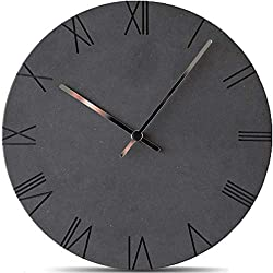 Stephanie Imports Modern Minimalist Concrete Misty Black (Roman) Silent Wall Clock