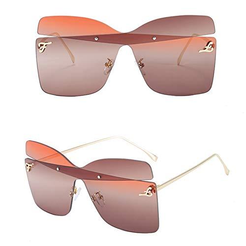 KHXJYC Gafas De Sol Sin Montura De Moda para Mujer, Gafas con Montura MetáLica Grande, Gafas De Sol De Pasarela, Gafas De Arco A Juego De Colores,#2