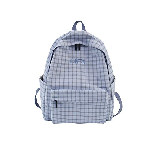 MNBVCX Girls School Bag Campus Wild Canvas Plaid Backpack Junior High School Student Backpack Blue 30X15X38Cm