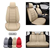 SPEED TREND Leather Car Seat Covers, Premium PU Leather & Universal Fit for Auto Interior Accessories, Automotive Vehicle Cushion Cover for Most Cars SUVs Trucks (ST-001 Full Set, TAN)