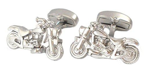 Motorrad Manschettenknöpfe Chopper silberfarben matt + schwarzer Exklusivbox