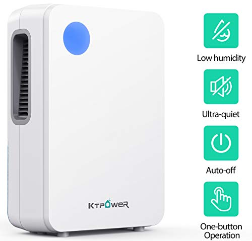 KTPOWER Dehumidifier for Home 2600 Cubic Feet (400 sq ft), Compact and Portable 2000ml (68 oz) for High Humidity Remove Up to Daily 27 oz, Quiet Dehumidifiers for Bedroom, Basements, Bathroon, Kitchen, Caravan, Garage, Auto Shut- off
