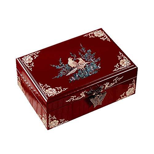 HAIHF Sieradendoosje, Moeder van Parel Vogel en Bloem Ontwerp Houten Sieraden Spiegel Trinket Keepsake Treasure Lak Doos, Oosterse Chinese Meubilair Trinket Box & Geschenken