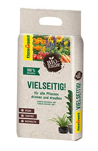 Floragard Bio-Erde Vielseitig 1x3 Liter - Universalerde für alle Pflanzen drinnen und draußen - torffrei und vegan