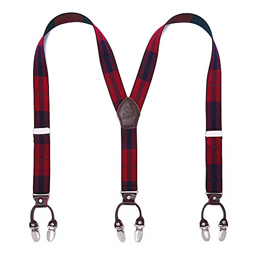 Mann Hosenträger Mode Einstellbare und Hohe Qualität KANGDAI 6 Clips mit Y Zurück Durable Breite Elastische Straps Hosenträger für Hosen Hosenträger (dunkelroter Streifen)