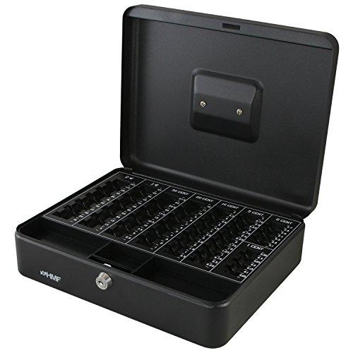 HMF 108-02 Caja de caudales, para monedas 30 x 24 x 9 cm, negro