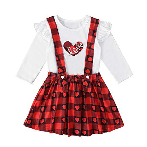 Conjunto de Vestido Nia Tops Manga Larga + Falda con Tirantes Estampado de Cuadros Ropa Bebe Recien Nacido Nia Vestidos Beb Nias (Rojo, 18-24 Meses)