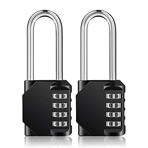 Candados ZHEGE con grillete largo, paquete de 2, candados de combinación de 4 dígitos para casilleros, cerradura resistente a la intemperie al aire libre para portón, cobertizo, cerca (negro y negro)