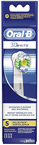 Braun Oral-B 3D White Replacement Toothbrush Heads, Refills for Electric Toothbrush, Polishes to Remove Stains for Whiter Teeth, Pack of 5