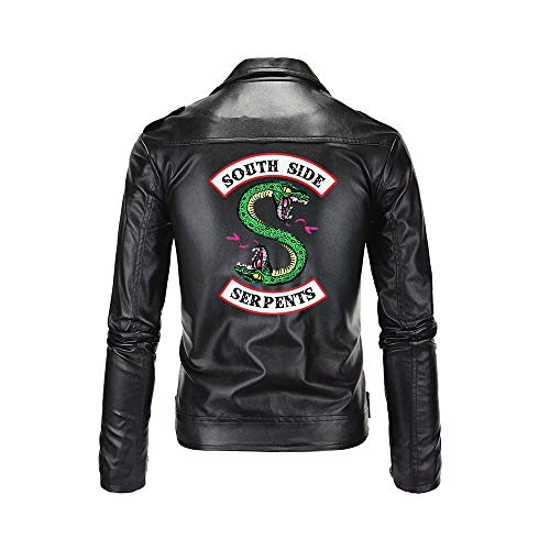 JinYiny Chaqueta de Serpientes de Riverdale Southside con Estampado de Serpientes de Southside Chaqueta de Cuero de imitación Negra Motocicleta Zip Up PU Punk Outwear Abrigo Disfraz para Hombre