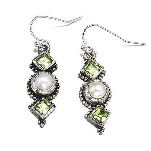 QYMX Pendiente Mujer, Perlas de imitación Pendientes Colgantes Plata Antigua Verde Geométrico Colgante Pendientes Colgantes para Mujer Regalo de joyería