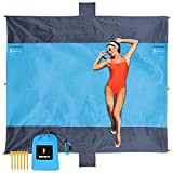 BENETA Beach Blanket Sandproof, 103' x 87'Outdoor Picnic Large Beach Mat for 4-7 Adults Camping Hiking Picnic mat, with 2 Zipper Storage Pockets, 6 Corner Pockets (Grey Blue)