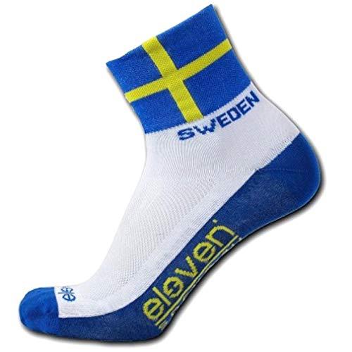 Socken mit Fahnen | funktionelle Sportsocken für Radfahren, Laufen, Indoor-Sport und Outdoor-Sport | Eleven Howa (Schweden, S (EU 36-38))